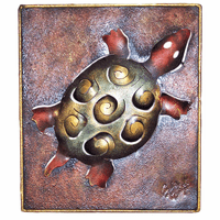 Swirled Turtle Metal Wall Art