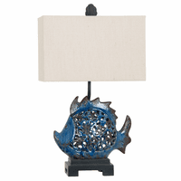Swirly Blue Fish Table Lamp
