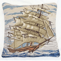 Tail Ship Mixed Stitch Pillow