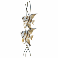 Tall Angelfish Pair Metal Wall Art - Left Facing