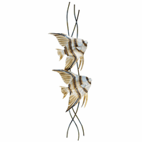 Tall Angelfish Pair Metal Wall Art - Right Facing