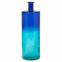 Tall Blue Oversized Recycled Glass Vase