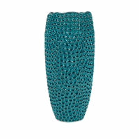 Tall Pebbled Aqua Vase
