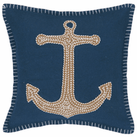 Tan Anchor on Navy Embroidered Pillow