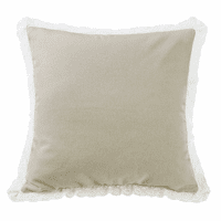 Tan Burlap Square Pillow with Lace