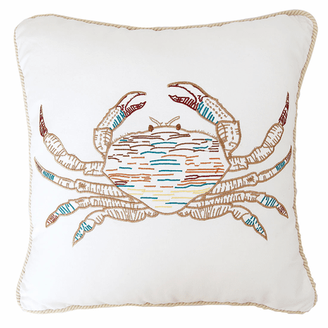 Tan Crab Embroidered Pillow