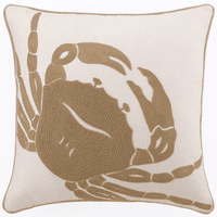 Tan Crab on White Embroidered Pillow