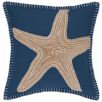 Tan Sea Star on Navy Embroidered Pillow