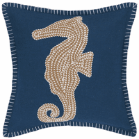 Tan Seahorse on Navy Embroidered Pillow - CLEARANCE
