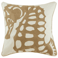 Tan Seahorse on White Embroidered Pillow