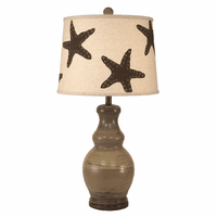 Tan Table Lamp with Brown Starfish Shade