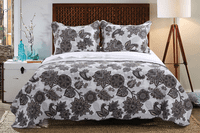 Taupe Flowers 3pc Quilt Set - Full/Queen