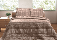 Taupe Ruffles & Ruching 2-Piece Quilt Set - Twin