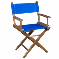 Teak Director's Chair with Blue Seat Covers