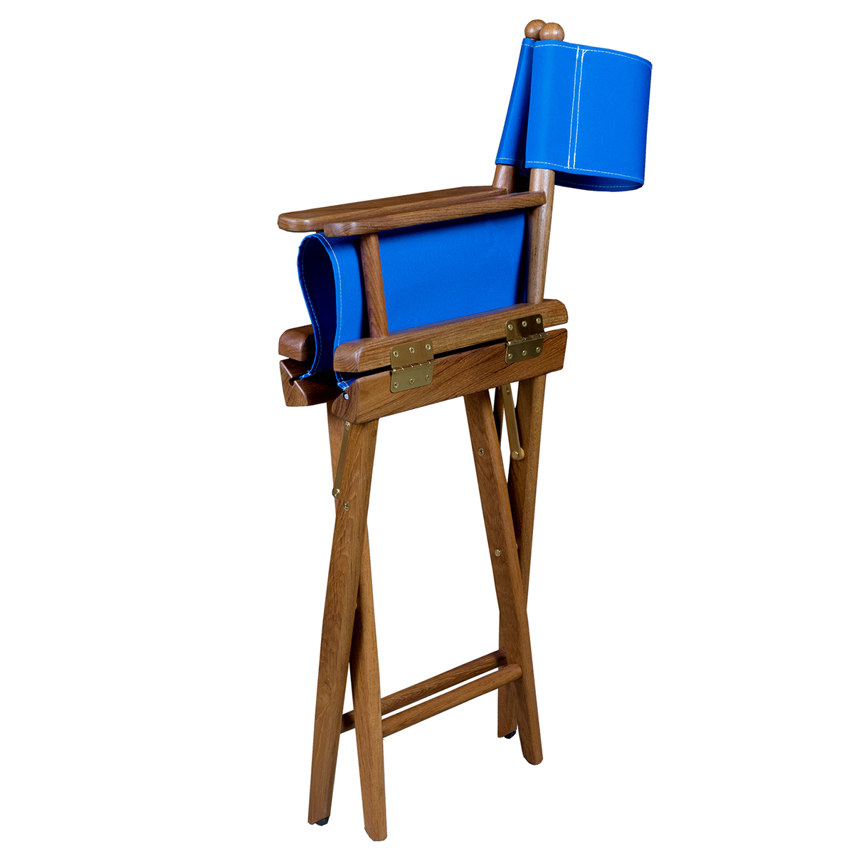 Teak Director S Chair With Blue Seat Covers