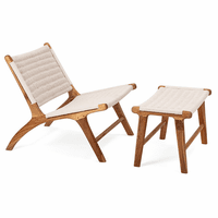 Teak Patio Chair and Ottoman - White