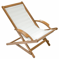 Teak Sun Chair with White Sling
