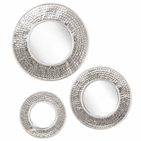 Textured Round Mirrors - Set of 3