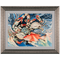 Three Blue Crabs & Snapper Framed Print