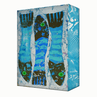 Three Blue Fish Aluminum Box Wall Art