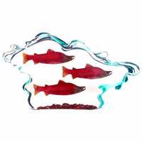Three Red Salmon in Water Figurine