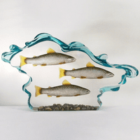 Three Salmon in Water Figurine