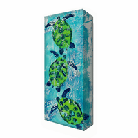 Three Sea Turtles Aluminum Box Wall Art