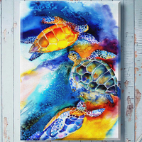Tortoise Trio Canvas Art