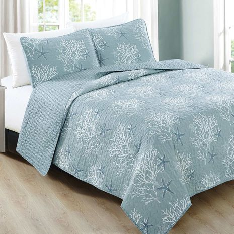 Tranquil Reef Quilt Set - Queen