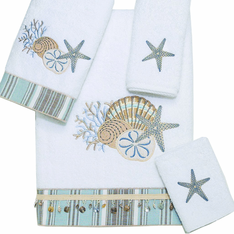 Tranquil Sea Bath Towel - White