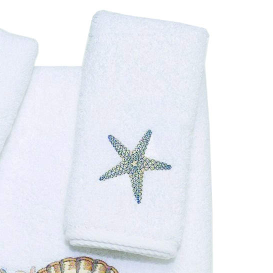 Beach Themed Towels White Tranquil Sea Fingertip Towel
