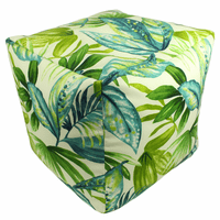 Tropical Blue Palms Indoor/Outdoor Square Pouf