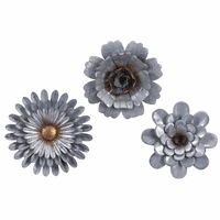 Tropical Flowers Galvanized Wall Decor - Set of 3