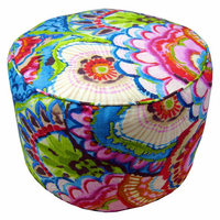 Tropical Flowers Indoor Round Pouf