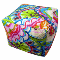 Tropical Flowers Indoor Square Pouf