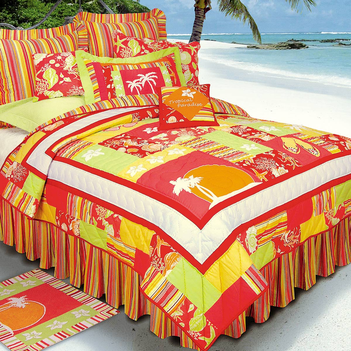 Nautical Quilts Twin Size Tropical Paradise Quilt Bella
