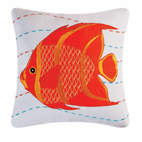 Tropical Sea Orange Fish Embroidered Pillow