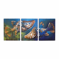 Tryptich Fish Frame Metal Wall Art