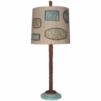 Turquoise and Rope Table Lamp with Signs Shade