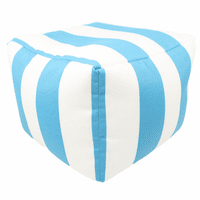 Turquoise and White Stripes Square Pouf