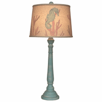 Turquoise Buffet Lamp with Seahorse and Coral Shade