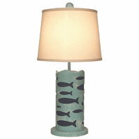 Turquoise Cutout School of Fish Accent Lamp