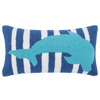 Turquoise Dolphin Hooked Pillow