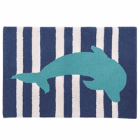 Turquoise Dolphin Hooked Rug