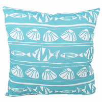 Turquoise Fish and Shells Indoor/Outdoor Pillow