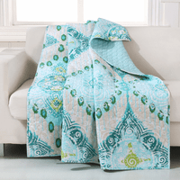 Turquoise Flowers Throw