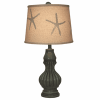 Turquoise Genie Pot Accent Lamp with Starfish Shade