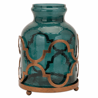 Turquoise Glass Vase on Moroccan Stand