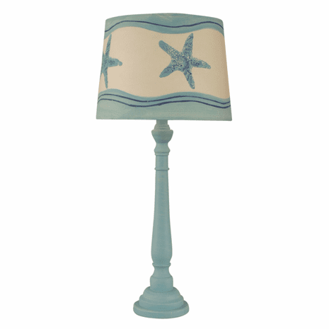 Turquoise Sea Round Buffet Lamp with Starfish Shade