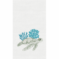 Turtle & Blue Coral Waffle Weave Towels - Set of 6